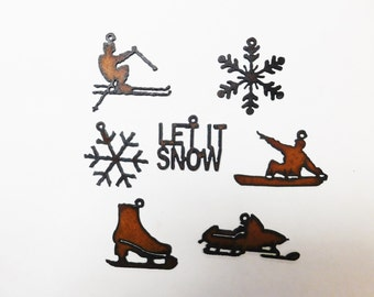 let it snow (3)  skier snowboarder snowflake iceskate snowmobile (3) charms winter and snow related mix and match any three