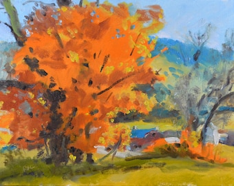 Original Oil Painting, Autumn Tree, Fall Landscape, by Robert Lafond