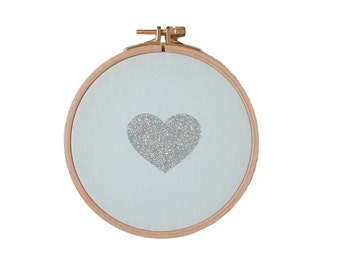 Heart shaped Wall frame - Mint and Silver Glitter - Valentine Day - House - Houseware - Decoration - Love - Christmas