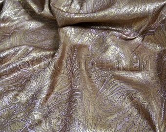 Paisley Jacquard in Rose Gold - Gorgeous Fabric w/ a Paisley Design Throughout - Ideal for Decorations, Crafts, Drapes, and Linens
