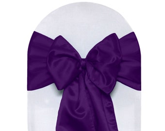 YCC Linen - Purple Satin Chair Sashes (Pack of 10) | Wedding Chair Sashes