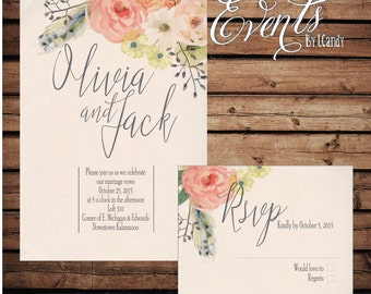 PRINTED Wedding Invitation - peach coral floral