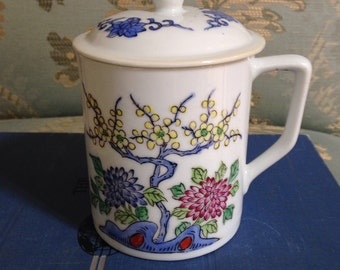 Chinese Floral Tea Cup with Lid