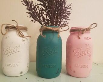 Teal, pink, and white Mason Jar, Painted Mason Jar, Distressed mason jar, Wedding, Baby Shower, pink and White0