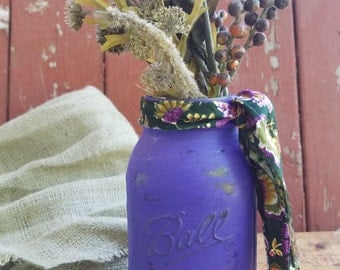 SALE! Rustic Mason Jar, Painted Mason Jar, Rustic Wedding Decor, Baby Shower Decor, Purple Mason Jar, Shabby Chic Decor, Purple Jar