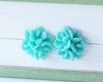 Seafoam Mint Studs Seafoam Flower Earrings Mint Flower Earrings Teal Flower Earrings Chrysanthemum Stud Earrings Bridesmaid Earrings Gift