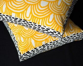 Hills Sunshine Yellow 45cm x 45cm box cushion - Hand screen printed