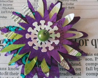 Purple Flower Barrette: recycled upcycled fused plastic bags repurposed teal lime green white hair clip reclaimed glass bead daisy