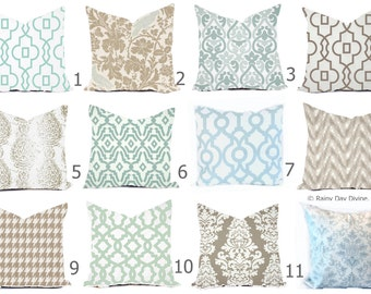 Pillows Cover Custom - Robin Egg Blue Spa Taupe Ecru Tan Brown - All sizes 18x18, 16x16  Throw Accent Toss Modern Abstract Print