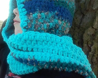 Crochet Scoodie- Scarf/Hood Combo- Variegated Blues & Browns