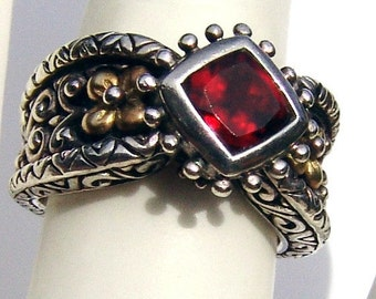 SaLe! sALe! Designer Garnet Ring Bixby 18K Gold Sterling Silver