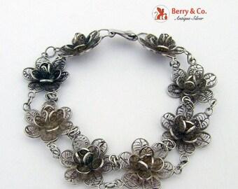 SaLe! sALe! Floral Filigree Bracelet Sterling Silver Mexico