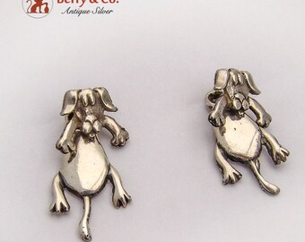 Funny Dog Earrings Removable Dangle Part Sterling Silver