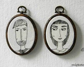 Custom Couple Portrait,HE and SHE,Personalized Portrait,Hand Embroidered Oval Custom Portrait