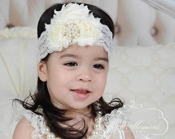 Chiffon Flower Headband - Ivory Headband - Newborn Headband - Baby Headband - Chiffon Headband - Infant Headband - Photo Prop - Baby Girl