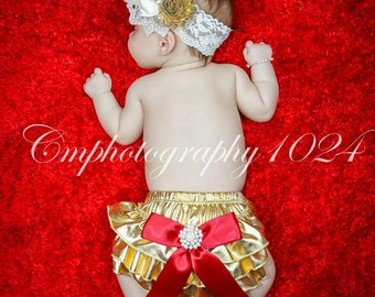 Gold Bloomers/Baby Bloomers/Ruffle Bloomers/Toddler Bloomers/Newborn Bloomers/Birthday Bloomer/Infant Bloomers/Lace Bloomers/Cake Smash