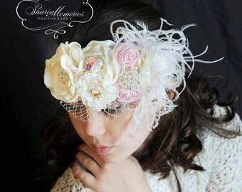 Fascinator/Headband/Baby Headband/Baby Headbands and Bows/Infant Headband/Baby Girl Headband/Girl Headband Baby/Toddler Headband/Baby Romper