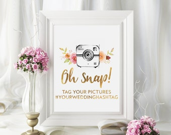 Oh Snap Wedding Sign, Instagram Wedding Sign, Camera Wedding Sign, Wedding Hashtag Sign, Custom Wedding Sign, Gold Wedding Sign, Chic Poster