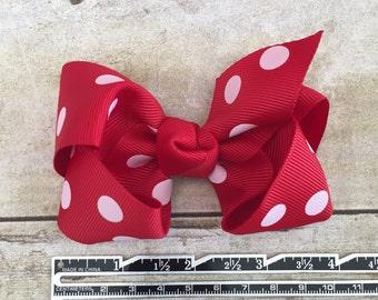 "White Polka Dots on Red Ribbon Hair Bow/ Hair Clip 4"""