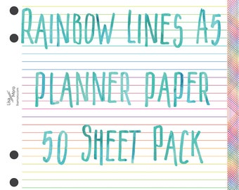 A5 planner 50 printed sheets of Lined paper.  White with rainbow lines - reverse side squared. 50 sheets pack.