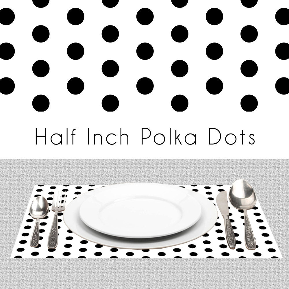 polka dots black and white paper placemats bw placemats book. Black Bedroom Furniture Sets. Home Design Ideas