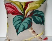 Vintage Barkcloth Pillow Cover, Retro Pillow Cover, Tropical Leaves Pillow Cover, Mid-Century, Home Décor, Retro Colors, Red, Chartreuse