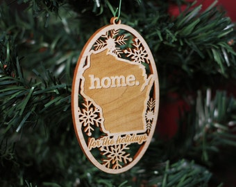 Engraved Wisconsin Wood Christmas Ornament