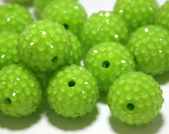 5 Resin Rhinestone Pave Chunky Beads - Lime Green Large Beads - 20 mm Chunky Beads