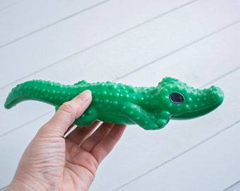 Soviet Vintage Crocodile Toy, Hard Plastic Toy, Green Color, Made In USSR 1970s, Russian Toy, Collectible Toy