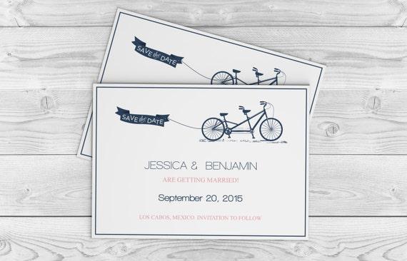 Save the dates tandem bike wedding templates navy tandem te gusta este artculo solutioingenieria Gallery