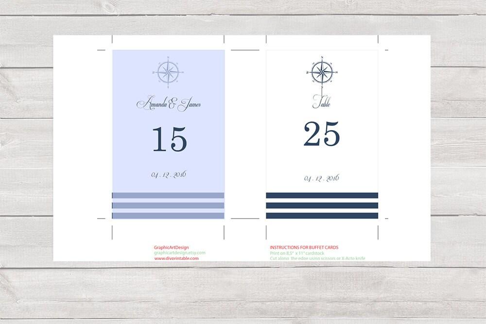 nautical wedding table numbers template diy printable navy