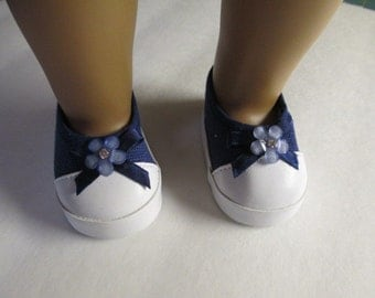 """Blue flat canvas Slip-on  shoes that fit 18"""" Dolls-Shown on my american girl doll"""