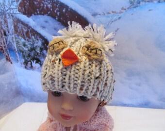 Owl Hat for 14'' Dolls,Fits 14'' Hearts for Hearts Dolls My Model, Oatmeal Colored Owl Hat, Fun Hat , Cute Hat,Outdoor Wear, Winter Wear
