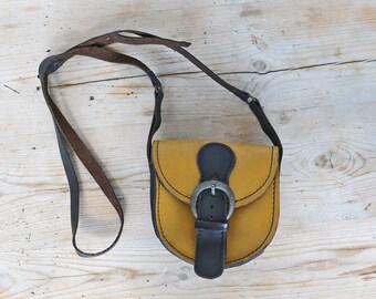 Small Leather Messenger Bag, Yellow Sturdy Leather Crossbody Bag, 2 Tones Bag / Hippie, Boho