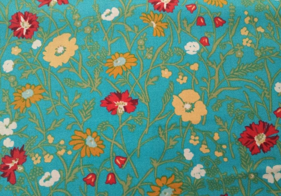 Teal floral fabric by the yard cotton laura ashley for Floral nursery fabric