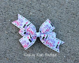 Girly Girl Hair Bow - Make Up Hair Bow - Lipstick Bow - 3 Inch Hair Bow - Girly Make Up Bow - Girls Hair Bow - Make Up - Lipstick