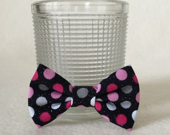 Dog Bow / Bow Tie / Tiny - Black w Pinks Gray White Glitter Polka Dots