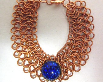 OOAK Hand Made Braided Copper Rings Bracelet with Deep Blue Glass Cabochon 07