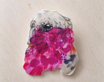 The Galah, illustrated brooch