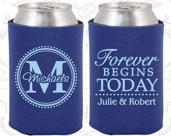 Forever Begins Today Wedding, Wedding Keepsake, Monogram Wedding, Monogrammed Gifts, Wedding Beer Sleeve (35)