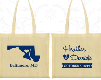 Maryland Wedding, Maryland Tote Bags, Wedding Favor Canvas Bag Tote, Destination Wedding Bags, State Tote Bags, Wedding Tote Bags (119)