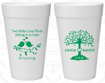 Two little love birds sitting in a tree Kissing, Wedding Favor Styrofoam Party Cups, Love Tree, Love Birds Wedding, Foam Cups (249)