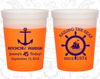 45th Birthday Mood Cups, Anchors Aweigh, Nautical Birthday, Anchor Birthday, Birthday Color Changing Cups (20023)