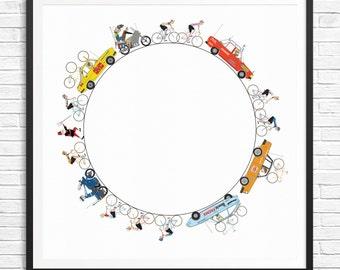 A2 Circle Giclee Cycling Print