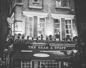 London Photography, London, England, UK, Bear and Staff, pub, London wall art, London decor, London pub photo