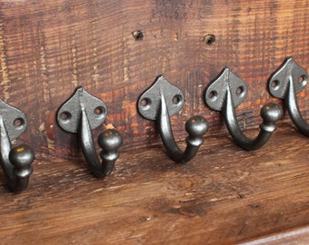 5 x Cast Iron Wall Hooks. Vintage Style Bathroom Bath Towel Hooks. Retro Antique Old Style Hat & Coat Hooks School Classic Style ~ CH01x5