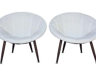 Pair Douglas Eaton MCM Saucer Chairs - Mid Century Modern - Moderist