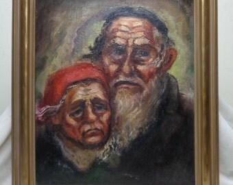B. Osipow Estate Vintage Old Couple Portrait Oil Painting w. Antique Wood Frame