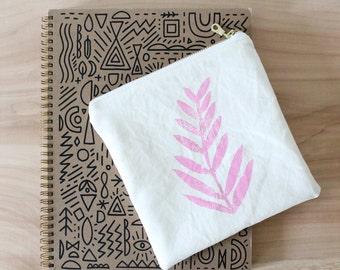 small zip pouch bahama pink fern block print