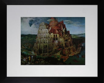 """Mounted and Framed - The Tower  of Babel Print by Bruegel - 14"""" x 11"""""""